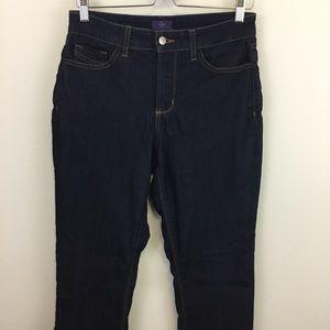 "NYDJ 10"" High RIse Straight Dark Wash Denim Jean"